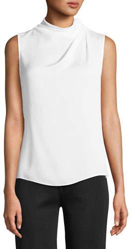 Giorgio Armani Ruched High-Neck Sleeveless Silk Shell Top