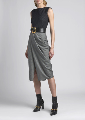 Alexander McQueen Boat-Neck Draped Sleeveless Dress