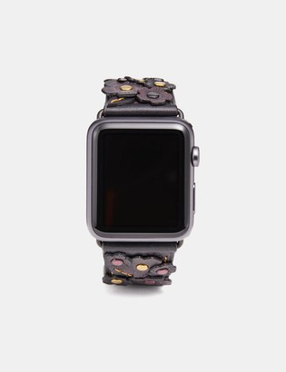 Coach Apple Watch Strap With Tea Rose Applique