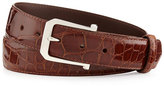 """W.KLEINBERG Glazed Alligator Belt with """"The Paisley"""" Buckle, Cognac (Made to Order)"""