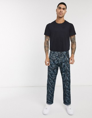 Levi's Youth hi-ball utility straight camo print trousers canvas in grey
