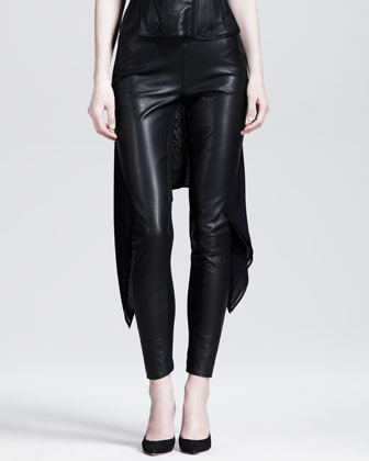 Gareth Pugh Stretch Leather Train Leggings