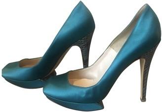 Nicholas Kirkwood Turquoise Cloth Heels