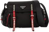 Prada Black Nylon Messenger Bag with Studding