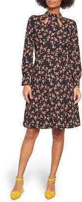 ModCloth Floral Long Sleeve Keyhole A-Line Dress