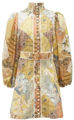Zimmermann Brightside Belted Patchwork-print Linen Mini Dress - Womens - Yellow Multi