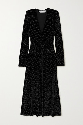 Rotate by Birger Christensen Lily Gathered Studded Stretch-velvet Midi Dress - Black