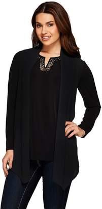 Susan Graver Artisan Liquid Knit Chiffon Front Cardigan Embellished Top