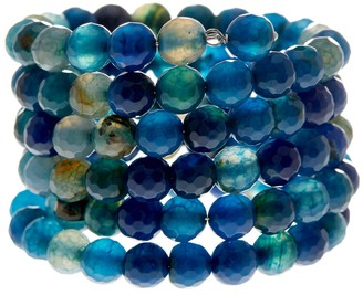 Savvy Cie Faceted Blue Agate Coil Wrap Bracelet