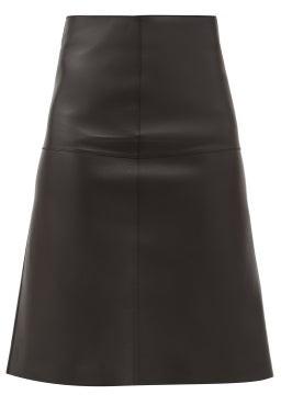 Totême High-rise Leather Midi Skirt - Black