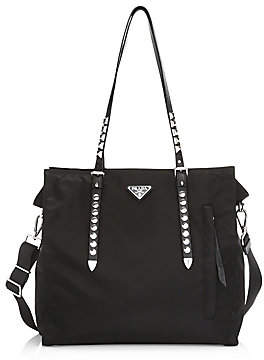 Prada Women's Nylon Shopper With Studding