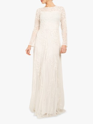 Beaded Dreams Embellished Long Sleeved Maxi Dress, White