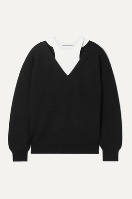 Alexander Wang Layered Merino Wool And Stretch Cotton-jersey Sweater - Black