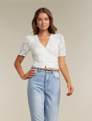 Forever New Nerissa Button-Down Lace Top - Porcelain - s