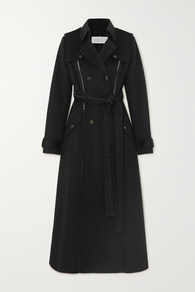 Gabriela Hearst Franz Belted Leather-trimmed Cashmere Trench Coat - Black