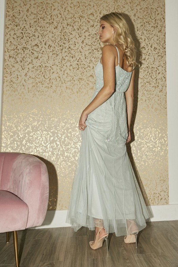 Thumbnail for your product : Little Mistress Bridesmaid Aida Mint Floral Embellished Maxi Dress