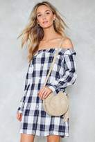 Nasty Gal Plaid Influence Off-the-Shoulder Shirt Dress