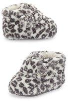 UGG Bixbee Cotton Leopard-Print Bootie, White/Black, Infant