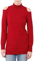 Three Dots Mockneck Cold-Shoulder Sweater