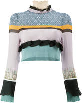 Undercover stripe panel cropped blouse