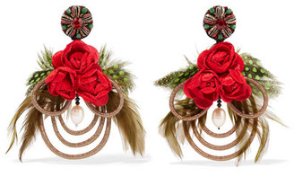 Ranjana Khan Mangueira Gold-tone, Mother-of-pearl, Crystal And Feather Clip Earrings - one size