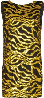 Halpern Sequin-Embellished Wave Mini Dress