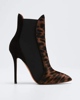 Alaia Leopard Pony Hair Gored Booties
