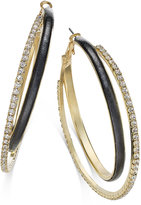 Thalia Sodi Gold-Tone Faux-Leather Pavé Hoop Earrings, Only at Macy's