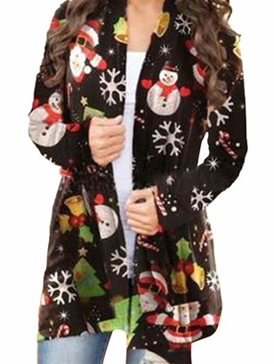 Sexy Dance Womens Loose Christmas Tree Snowman Printed Cardigan Casual Long Sleeve Xmas Open Front Jacket Coat Outwear L Black Snowman