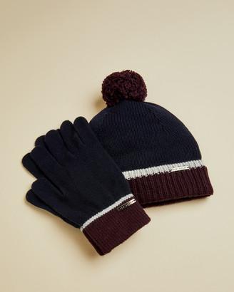 Ted Baker WOOPAK Merino hat and gloves set