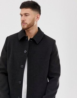 ASOS DESIGN wool mix coat in dark chacoal