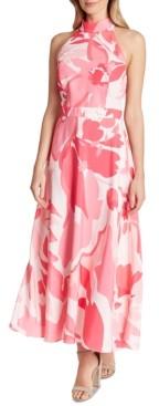 Tahari ASL Printed Halter-Neck Maxi Dress