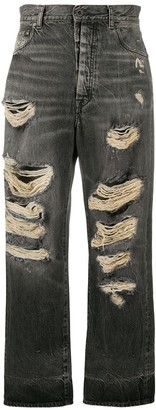 Unravel Project Distressed Straight-Leg Jeans