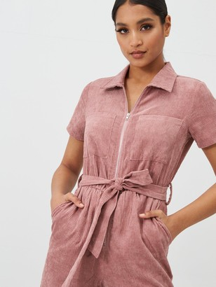 In The Style X Fashion Influx Corduroy Zip Front Boilersuit - Pink