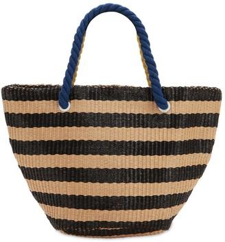 Striped Woven Tote Bag