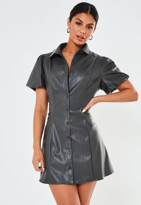 Missguided Petite Gray Puff Sleeve Faux Leather Shirt Dress