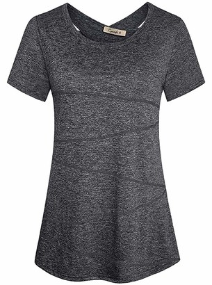 Cyanstyle Womens Short Sleeve Loose Fit Workout Yoga Racerback Tank Top Deep Grey L
