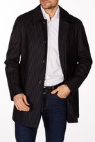 Levinas Navy-Gray Pinstripe Four Button Notch Lapel Wool Slim Fit Blazer