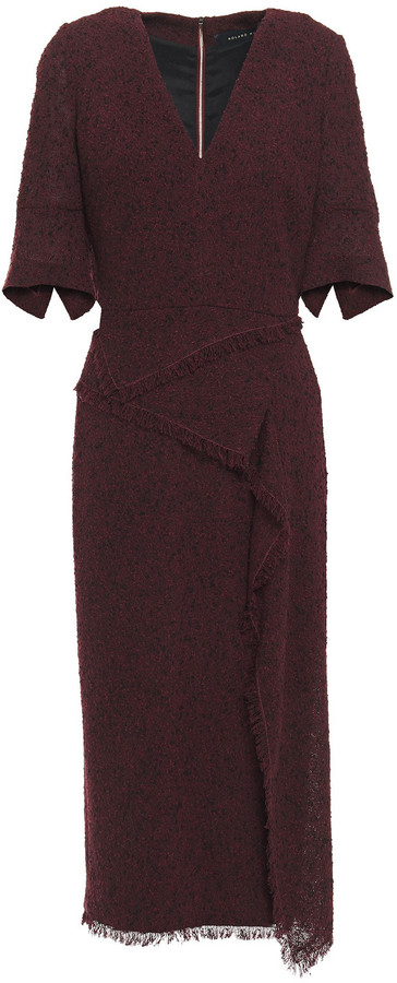 Thumbnail for your product : Roland Mouret Marengo Draped Wool-blend Boucle Midi Dress
