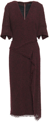 Roland Mouret Marengo Frayed Wool-blend Boucle Midi Dress