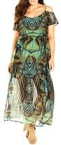City Chic Plus Size Women's 'Super Palm' Print Cold Shoulder Maxi Dress