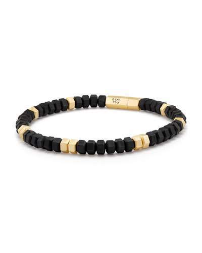 David Yurman Men's Hex Bead Bracelet in 18K Gold & Black Rubber