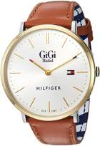 Tommy Hilfiger Women's 'GIGI' Quartz Gold-Tone and Leather Casual Watch, Color:Brown (Model: 1781749)