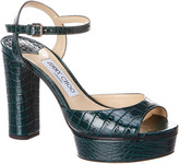 Jimmy Choo Peach 105 Croc-Embossed Leather Sandal