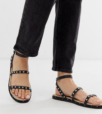 Asos Design DESIGN Wide Fit Juliette premium leather studded espadrilles-Black