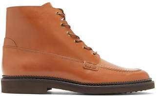 Tod's Lace Up Leather Ankle Boots - Womens - Tan