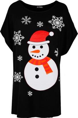 Be Jealous Women's Xmas Candy Nose Snowflake T Shirt Top
