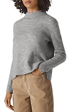 Whistles Ribbed Trim Mock Neck Sweater