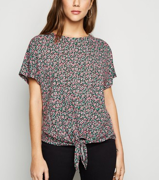 New Look Floral Jersey Tie Front T-Shirt