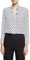 Diane von Furstenberg Long-Sleeve Collared Cuffed Silk Shirt